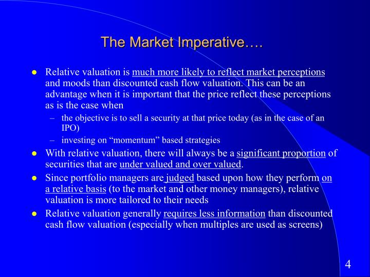 The Market Imperative….