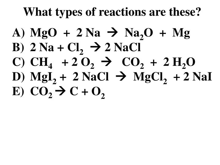 What types of reactions are these?