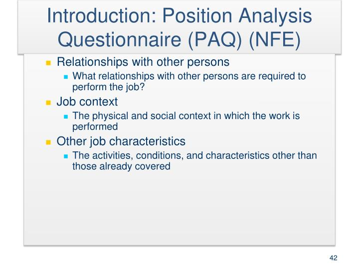 Introduction: Position Analysis Questionnaire (PAQ) (NFE)
