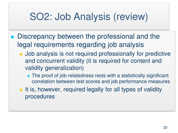 SO2: Job Analysis (review)