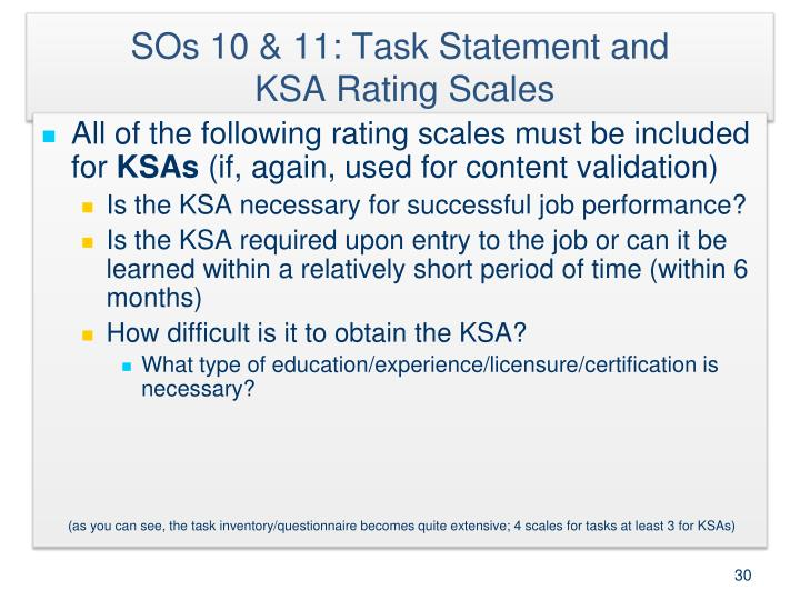 SOs 10 & 11: Task Statement and