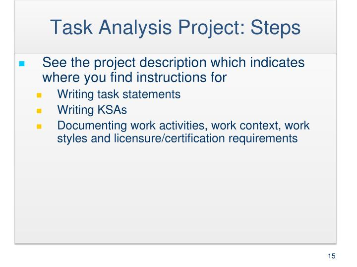 Task Analysis Project: Steps