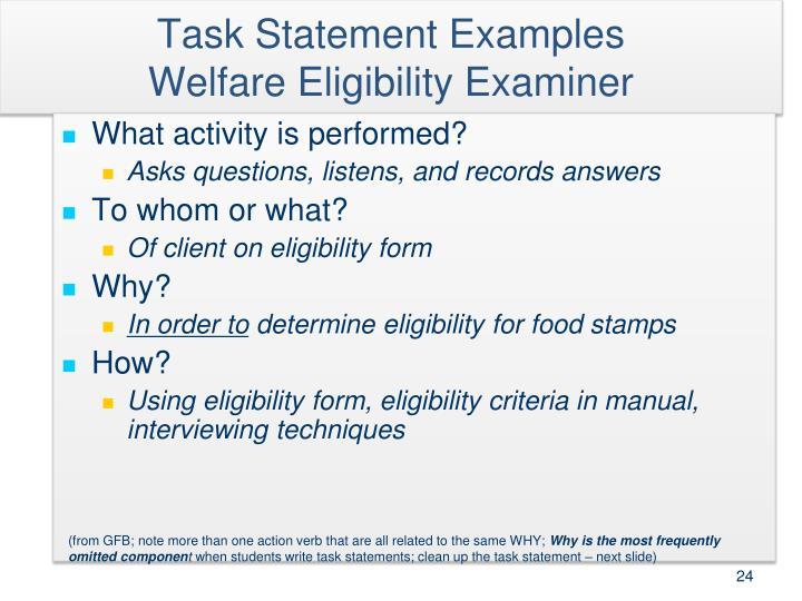 Task Statement Examples