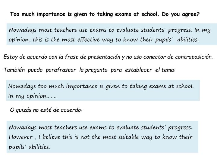 Too much importance is given to taking exams at school. Do you agree?
