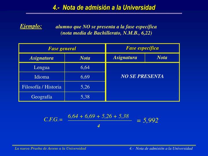 4.-  Nota de admisión a la Universidad