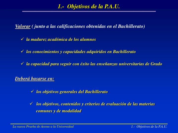 1.-  Objetivos de la P.A.U.