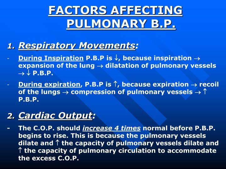 FACTORS AFFECTING PULMONARY B.P.
