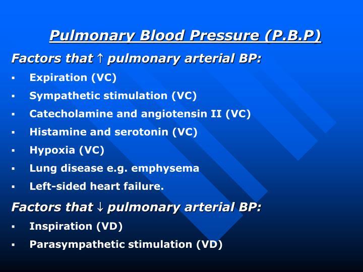 Pulmonary Blood Pressure (P.B.P)