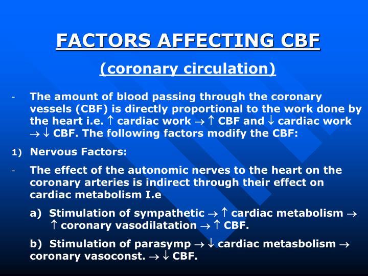 FACTORS AFFECTING CBF