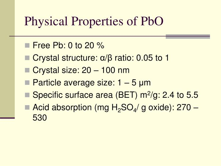 Physical Properties of PbO