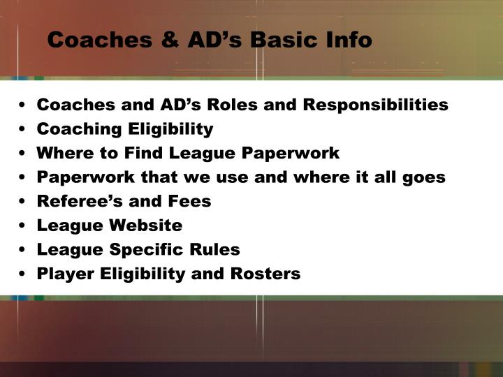 Coaches & AD's Basic Info