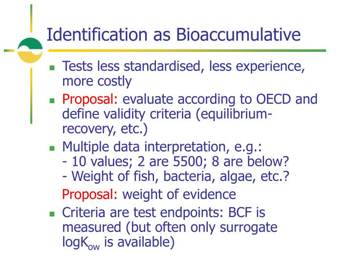 Identification as Bioaccumulative