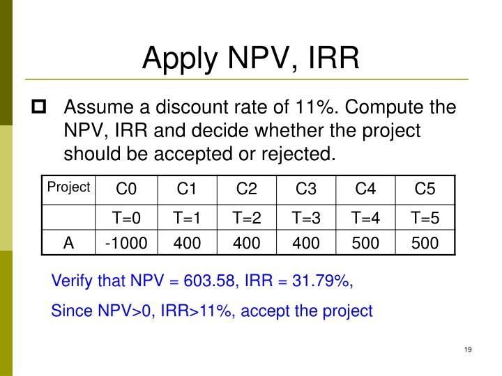 Assume a discount rate of 11%. Compute the NPV, IRR and decide whether the project should be accepted or rejected.