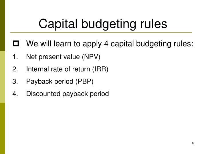 Capital budgeting rules