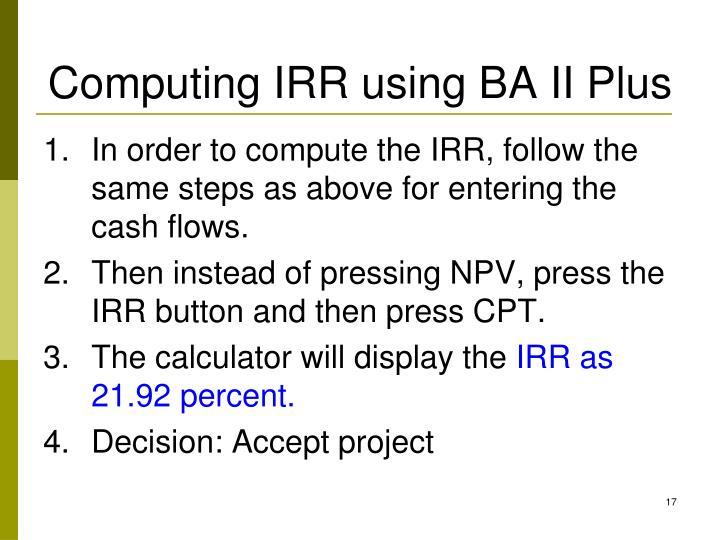 Computing IRR using BA II Plus