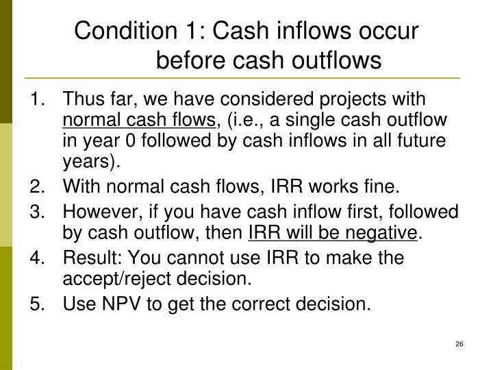 Condition 1: Cash inflows occur