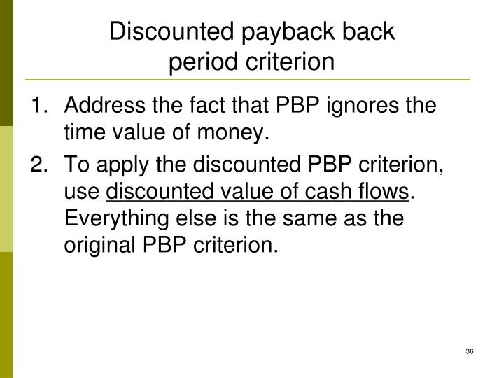 Discounted payback back