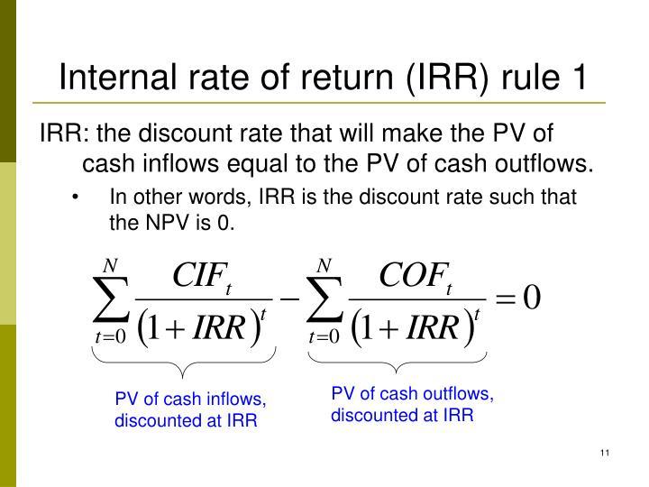 Internal rate of return (IRR) rule 1