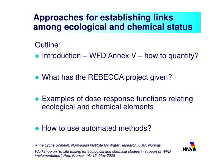 approaches for establishing links among ecological and chemical status n.