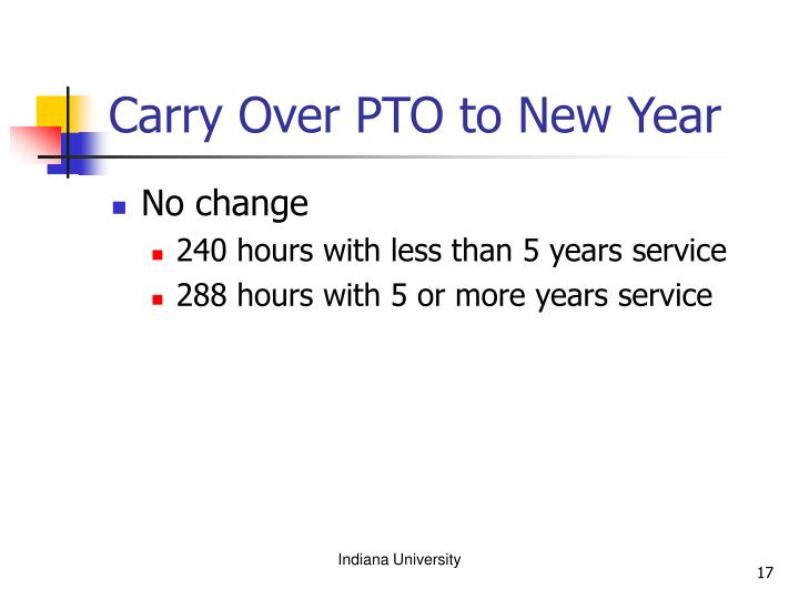 Carry Over PTO to New Year