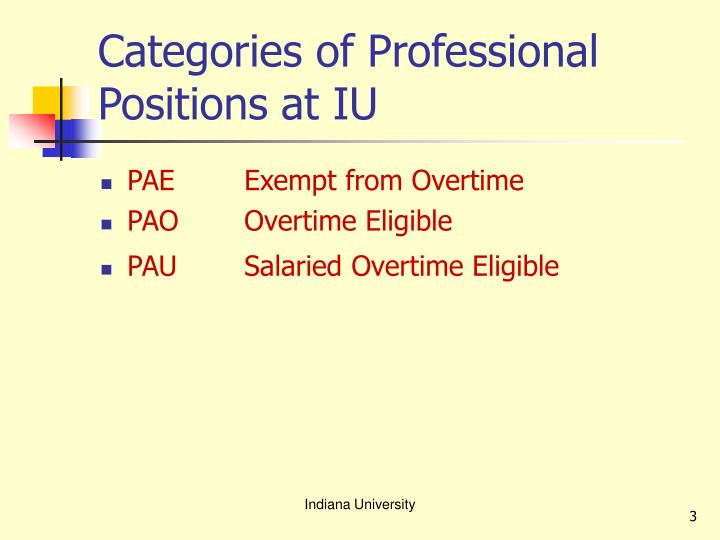 Categories of professional positions at iu