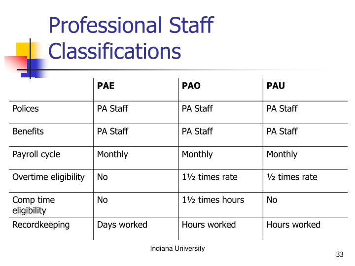 Professional Staff Classifications