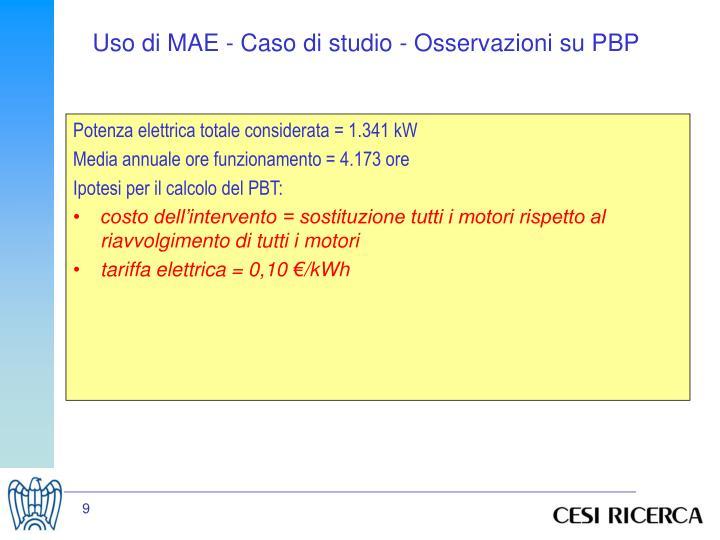 Uso di MAE - Caso di studio - Osservazioni su PBP