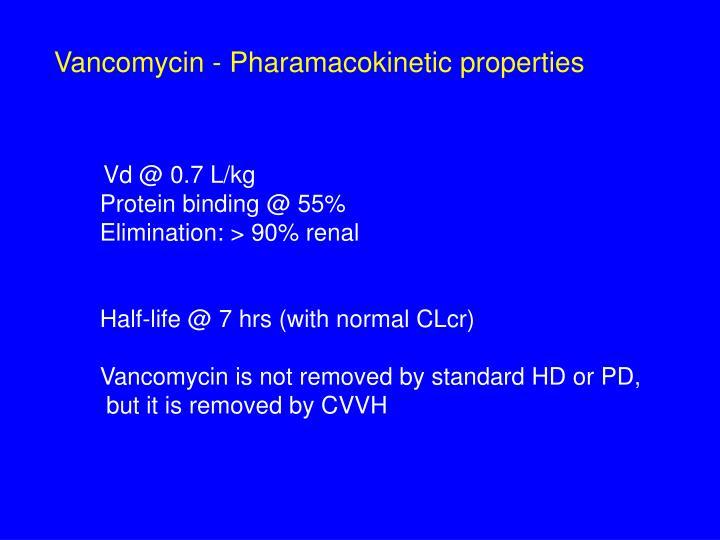 Vancomycin - Pharamacokinetic properties