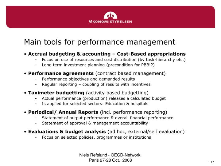 Main tools for performance management