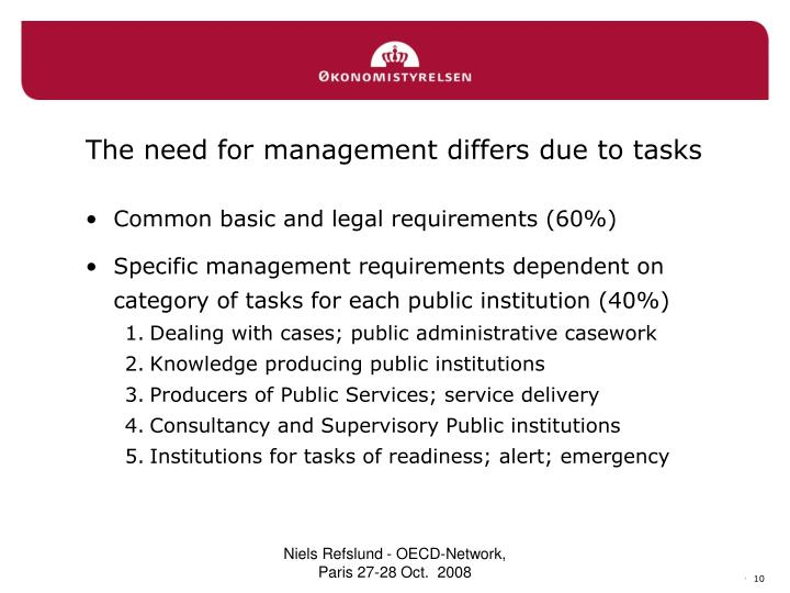 The need for management differs due to tasks