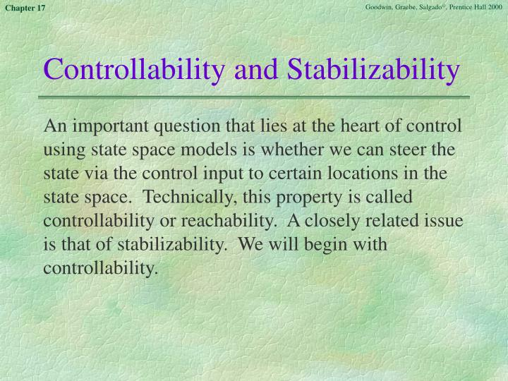 Controllability and Stabilizability