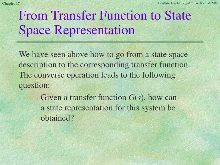 From Transfer Function to State Space Representation