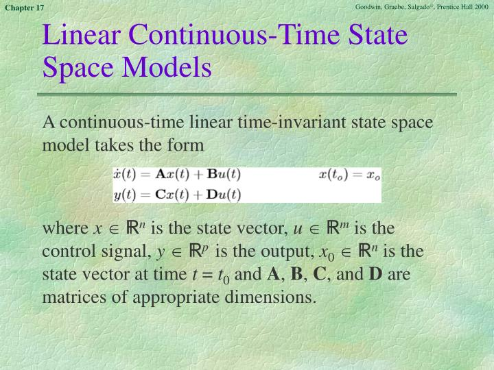 Linear Continuous-Time State Space Models