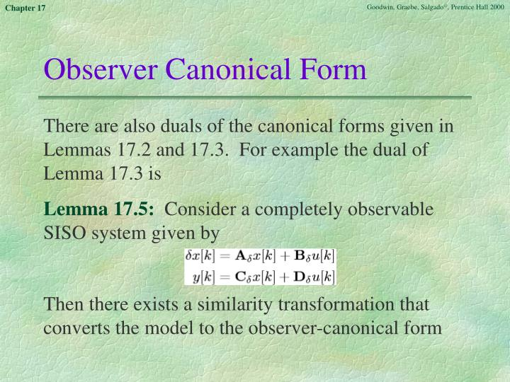 Observer Canonical Form
