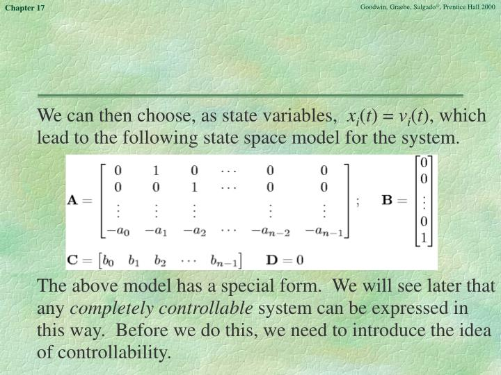 We can then choose, as state variables,