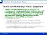 pamukkale university s vision statement