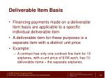 deliverable item basis