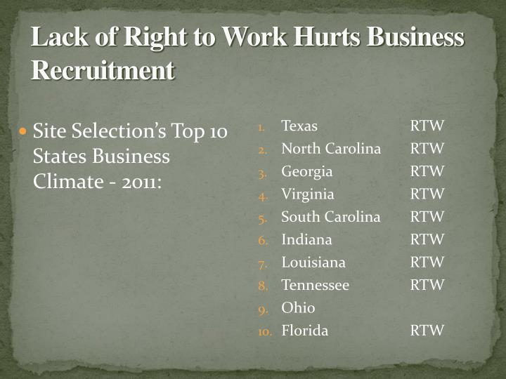 Lack of Right to Work Hurts Business Recruitment