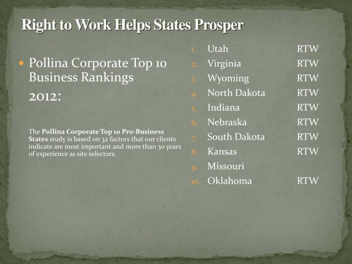 Right to Work Helps States Prosper