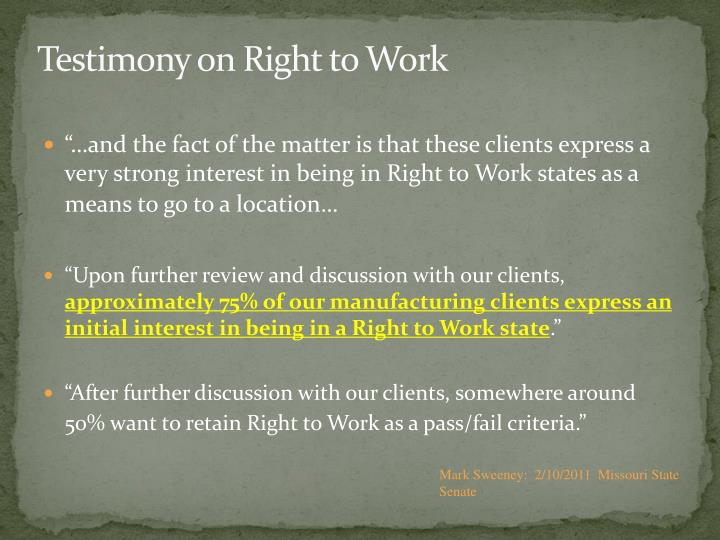 Testimony on Right to Work
