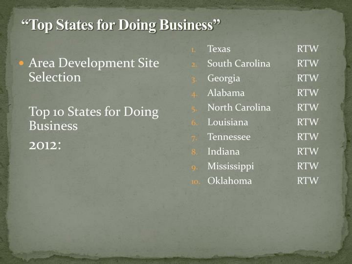 """""""Top States for Doing Business"""""""