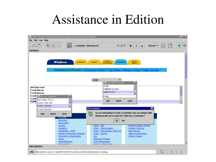 Assistance in Edition