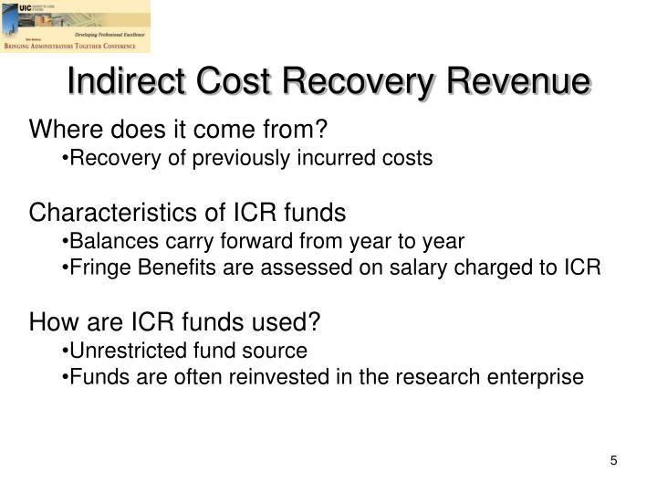 Indirect Cost Recovery Revenue