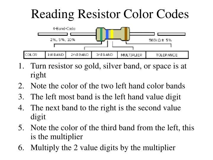 Reading Resistor Color Codes