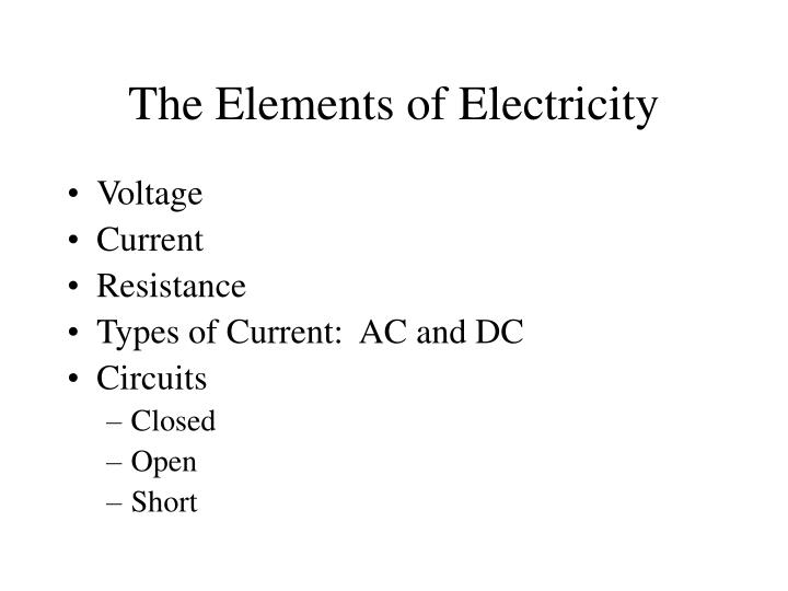 The Elements of Electricity