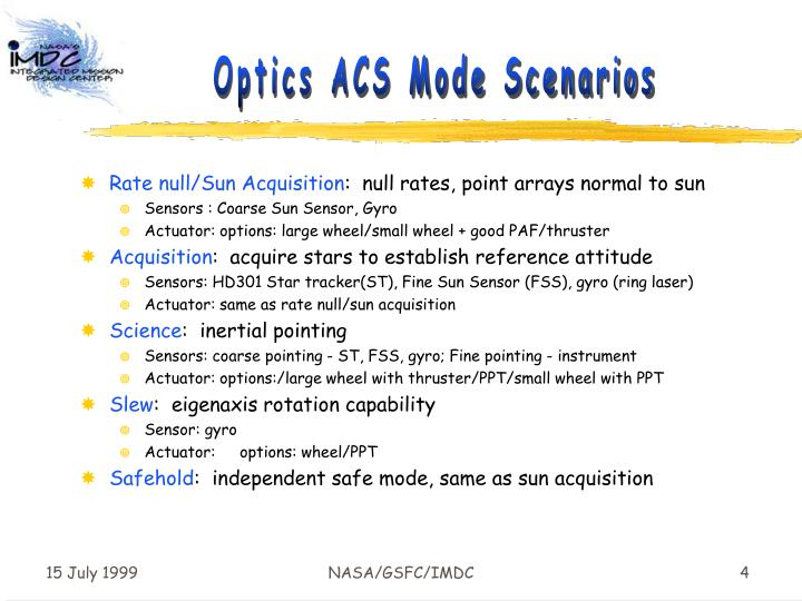 Optics ACS Mode Scenarios