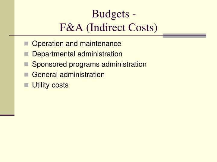 Budgets -