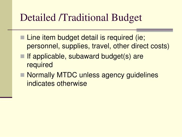 Detailed /Traditional Budget