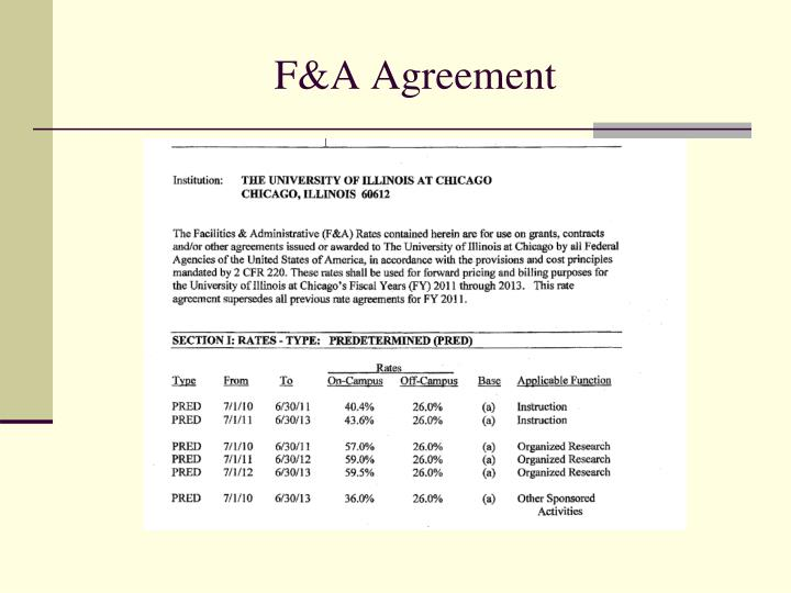 F&A Agreement
