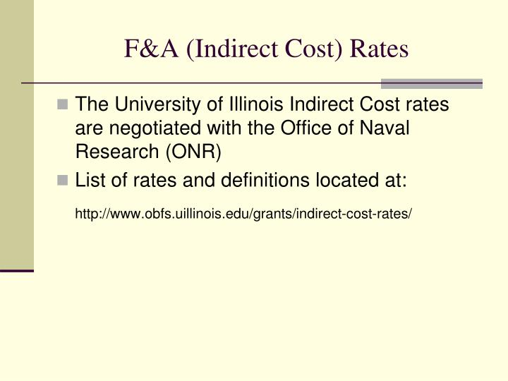 F&A (Indirect Cost) Rates